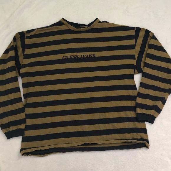 43555a3df Guess Shirts | Vintage Striped Long Sleeve Turtleneck Rare | Poshmark